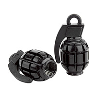Black-Ops Grenade Alloy Valve Cap AV (Black)-pair